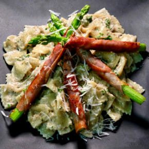 speck-wrapped-asparagus-mushroom-cream-pasta