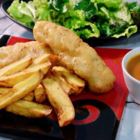beer-battered-fish-chips-roasted-red-pepper-tomato-sauce