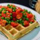 chinese-sausage-waffles-pea-red-pepper-salad-lap-xuong