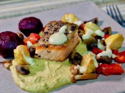 green-pea-hummus-roasted-baby-beetroot-crispy-skin-salmon-warm-vegetable-salad
