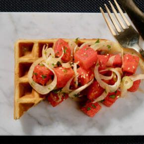 Watermelon and fennel salad on a buckwheat and ricotta waffle Appetiser Featured-Vegetarian Lunch Main Course Vegetarian Waffles