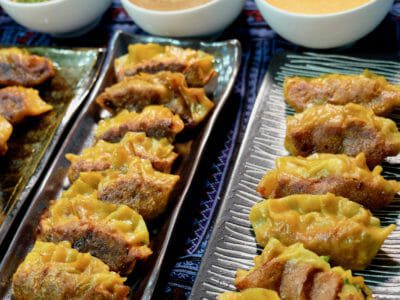 assorted-gyoza-variations-and-3-sauces