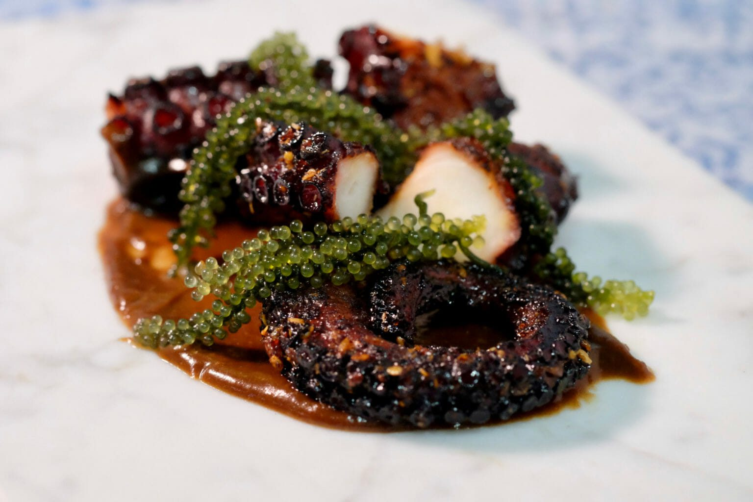 balsamic-glazed-octopus-on-a-black-garlic-and-anchovy-puree
