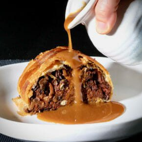 Black Bean Wellington with a mushroom miso gravy Featured-Recipes Featured-Vegetarian Inspired by the flavors of the Mediterranean Main Course Vegetarian Vegetarian