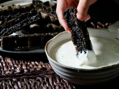 black-rice-waffles-whipped-feta-dip