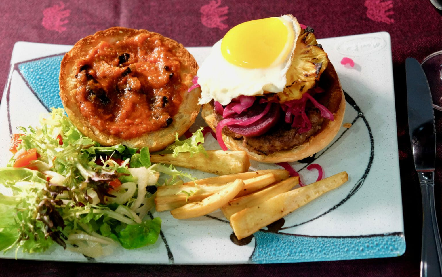 burger-with-pickled-beets-smoky-grilled-pineapple-fried-egg-and-tomato-and-black-garlic-sauce