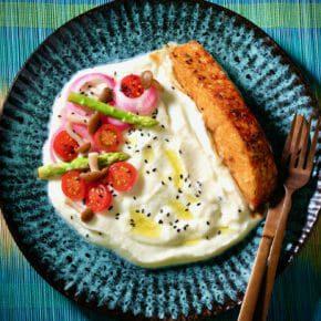 cauliflower-puree-pickled-vegetables-teriyaki-salmon