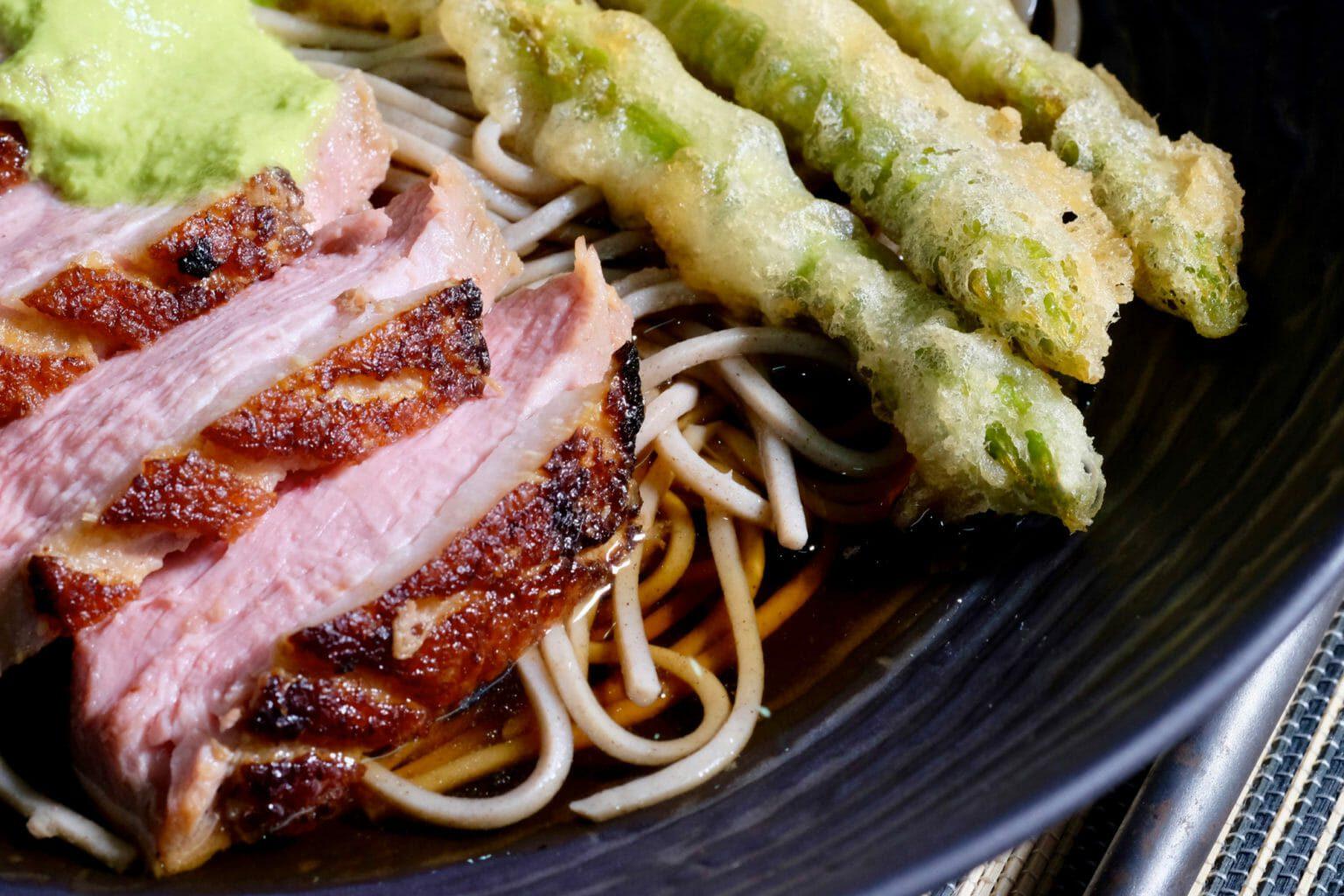 kamo-nanban-crispy-skin-duck-asparagus-tempura-soba-noodles