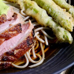 Crispy skin duck breast and asparagus tempura on soba noodles Featured-Recipes Inspired by the flavors of Asia Main Course Soup Sous Vide