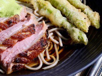 crispy-skin-duck-asparagus-tempura-soba-noodles