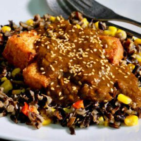 Crispy tofu and curry sauce on wild rice Featured-Vegetarian Inspired by the flavors of Asia Main Course Vegetarian