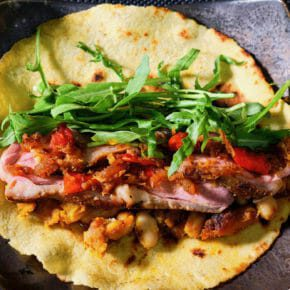 Duck, roast pumpkin and bean tortilla wrap. XO sauce. Featured-Recipes Inspired by the flavors of Asia Inspired by the flavors of the Mediterranean Lunch Main Course Sous Vide