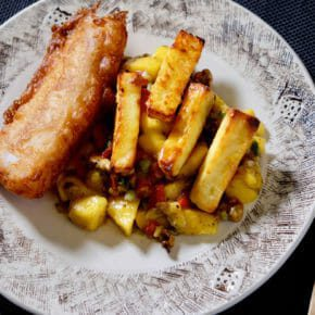 beer-battered-fish-halloumi-chips-mango-walnut-salad