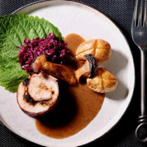 Trio of garlic wrapped in chicken and speck. Braised red cabbage. Featured-Recipes Inspired by the flavors of the Mediterranean Main Course Sous Vide