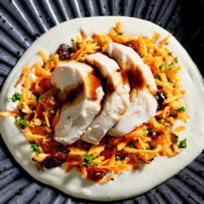 carrot-raisin-salad-white-bean-puree-sous-vide-chicken-breast