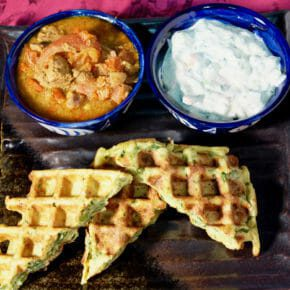 Kashmiri lamb curry (rogan josh). Pea and mint waffles Inspired by the flavors of Asia Main Course Waffles