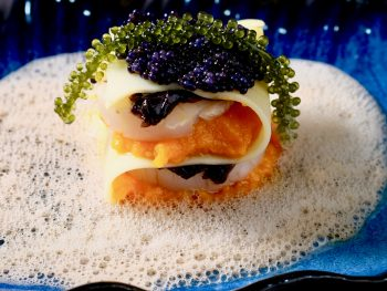 lasagna-noodle-with-scallop-pickled-seaweed-caviar-carrot-and-dashi-foam