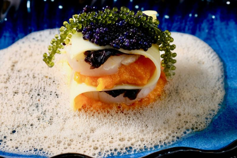 Seafood lasagna with scallop, pickled seaweed, caviar, and dashi foam Appetiser Featured-More Favorites Inspired by the flavors of the Mediterranean Seafood