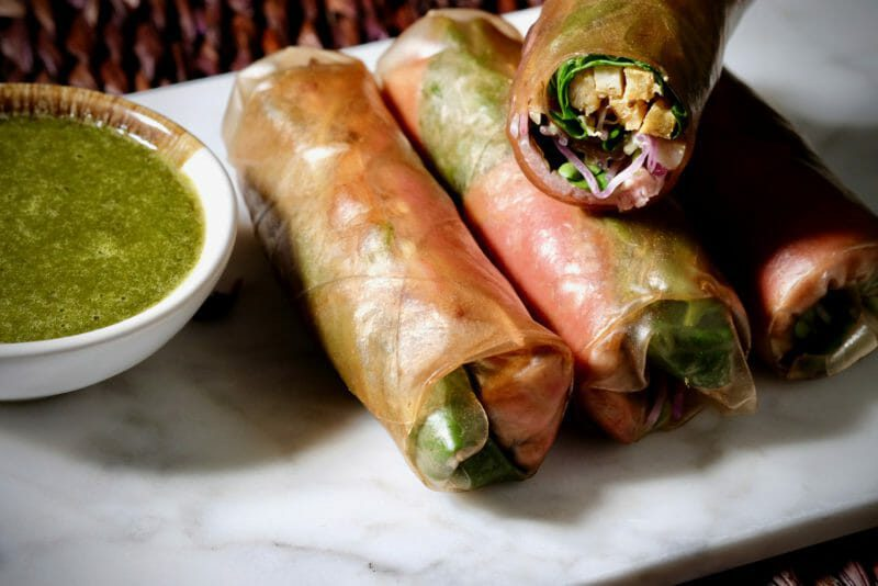 marinated-duck-rice-paper-wraps-green-herb-sauce