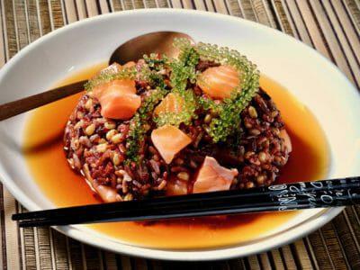 mixed-rice-chazuke-miso-cured-salmon