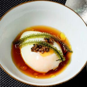 Onsen Tamago (Poached egg in a soy dashi broth) Appetiser Breakfast Featured-More Favorites Inspired by the flavors of Asia Sous Vide
