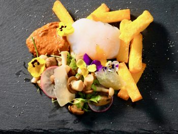 pickled-mushroom-salad-polenta-chips-romesco