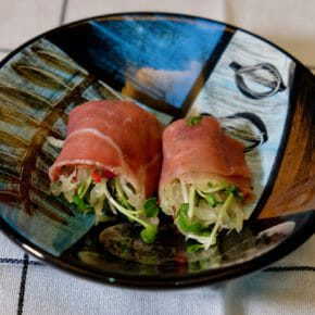 Pomelo salad wrapped in prosciutto Appetiser Tapas