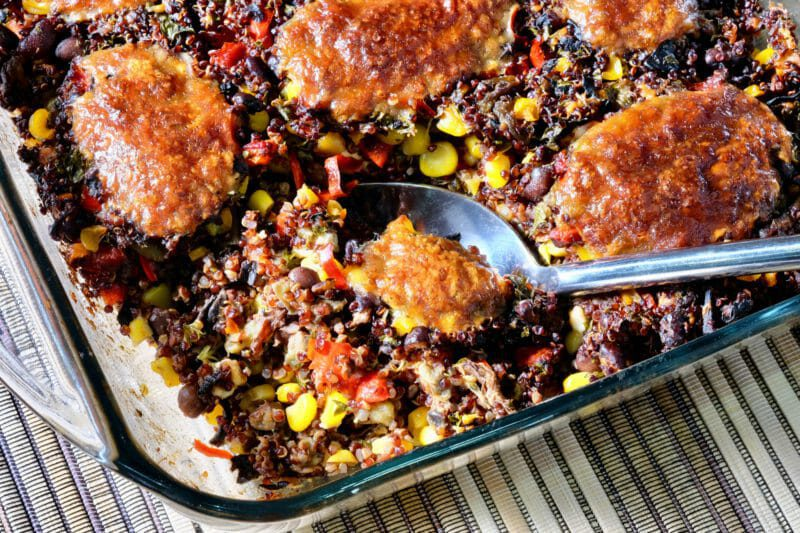 Red quinoa and black bean bake Featured-Vegetarian Inspired by the flavors of the Mediterranean Main Course Vegetarian Vegetarian