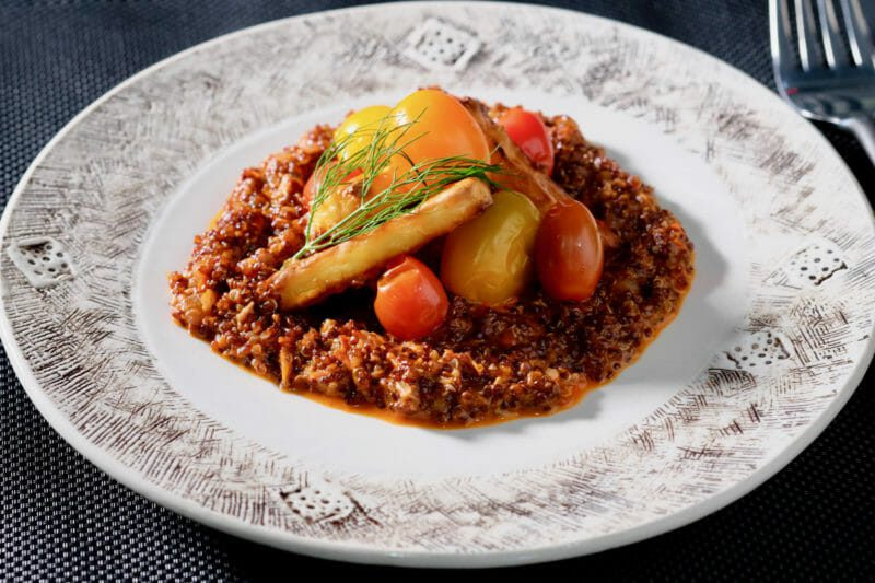 pickled-cherry-tomatoes-baked-halloumi-on-red-quinoa-risotto