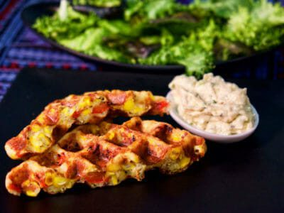roasted-red-pepper-and-corn-waffles