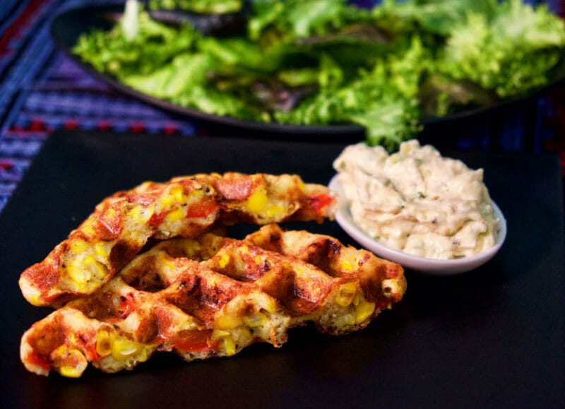 roasted-red-pepper-and-corn-yeast-waffles