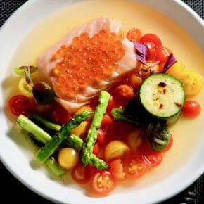 Salmon confit with tomato consommé, zucchini, and charred asparagus Featured-Recipes Inspired by the flavors of the Mediterranean Main Course Seafood Sous Vide
