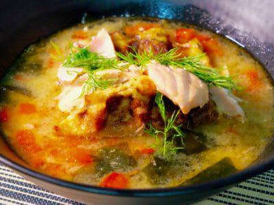 salmon-miso-soup-carrot-daikon-waffles