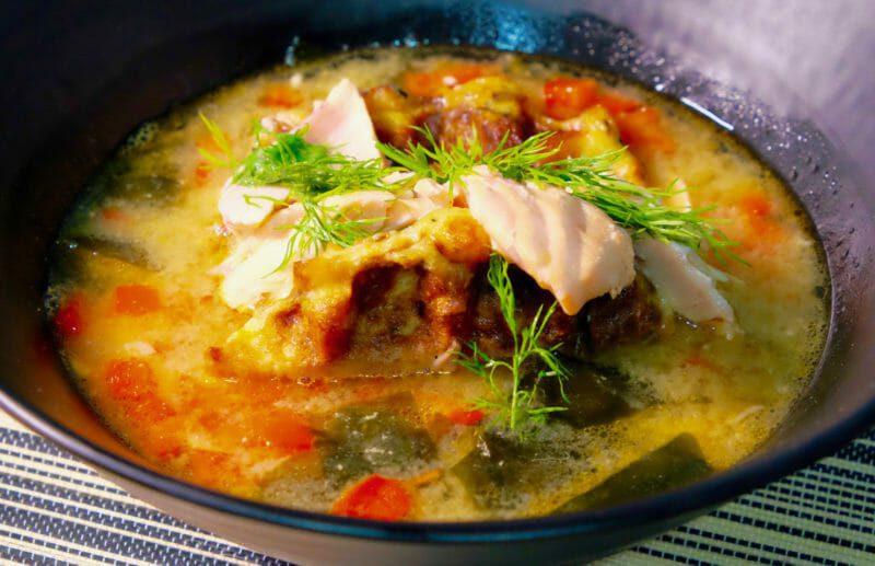 salmon-miso-soup.-carrot-daikon-and-zucchini-waffles