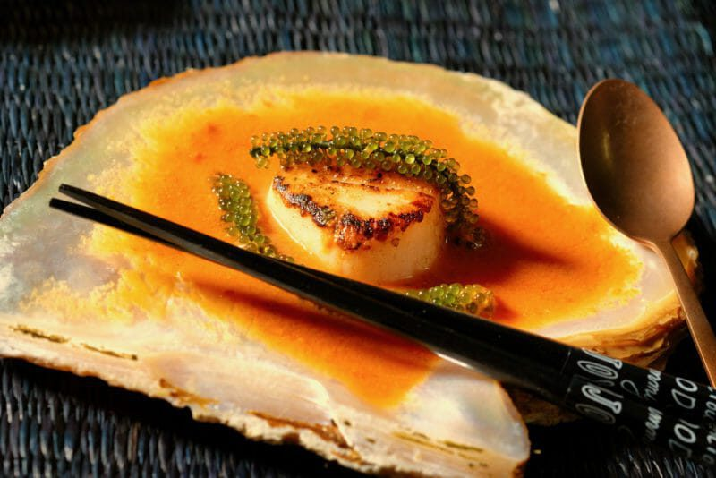 Seared scallop with gazpacho Appetiser Featured-Recipes Inspired by the flavors of the Mediterranean Seafood Tapas