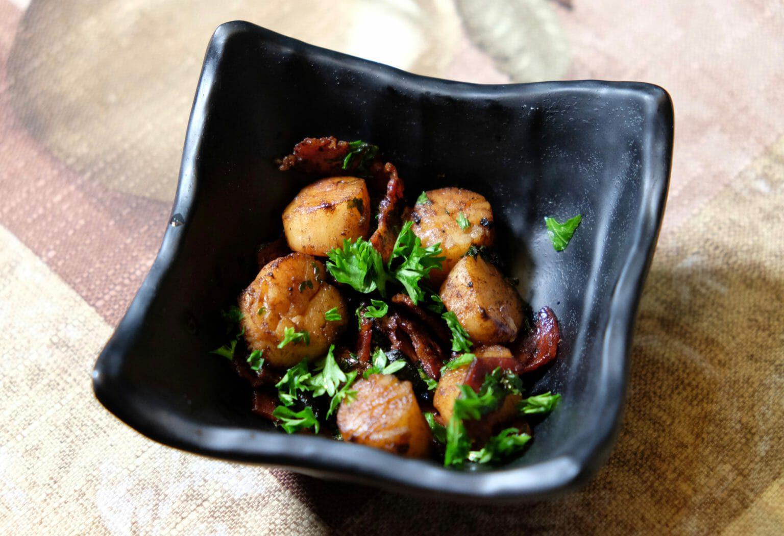 scallops-chorizo-black-garlic-and-sake