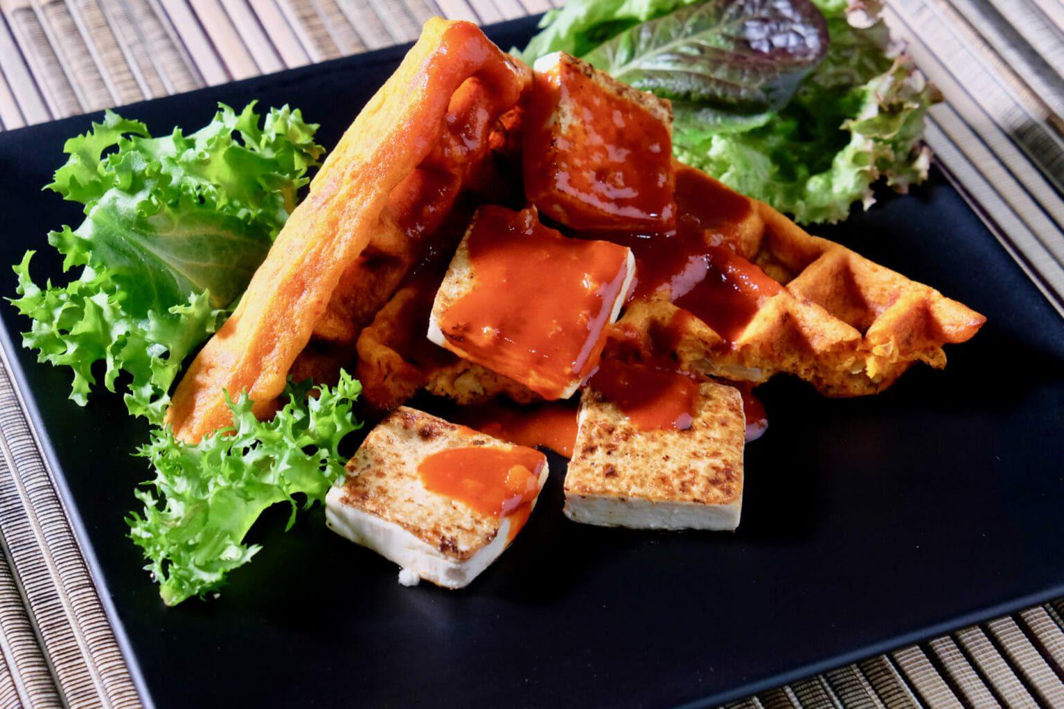 kimchi-jeon-pancakes-waffles-gochujang-sauce