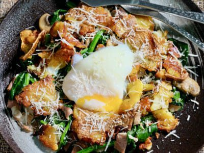 crispy-smashed-potatoes-wilted-spinach-poached-egg