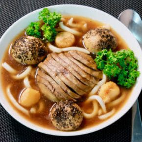 Smoky grilled mushrooms, roast garlic, udon noodles in a mushroom broth Featured-Vegetarian Main Course Soup Vegetarian