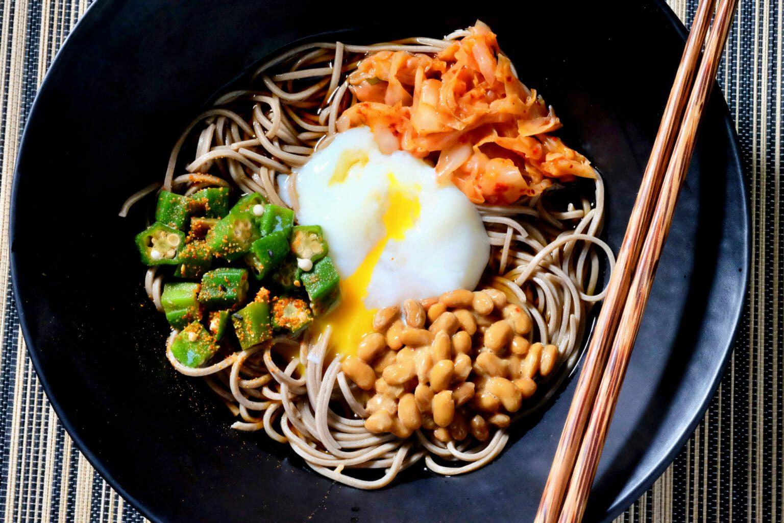 soba-noodle-salad-natto-kimchi-okra