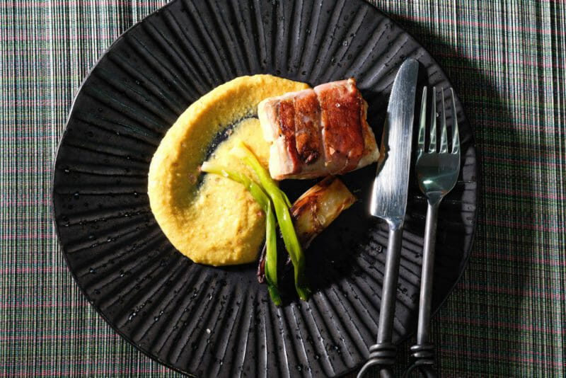 Salmon wrapped in speck with charred corn puree and braised endive Featured-Recipes Inspired by the flavors of Asia Inspired by the flavors of the Mediterranean Main Course Seafood Sous Vide