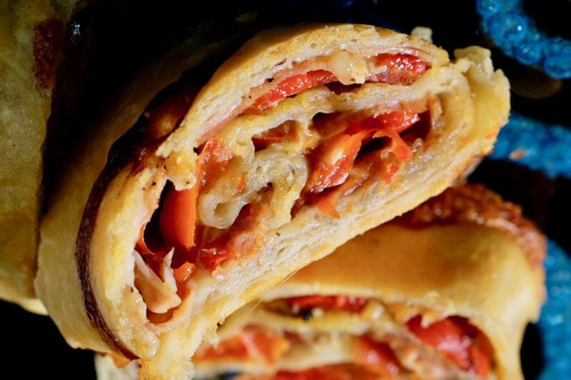 Stromboli with red peppers, pancetta, chorizo, and camembert Inspired by the flavors of the Mediterranean Lunch Main Course Tapas