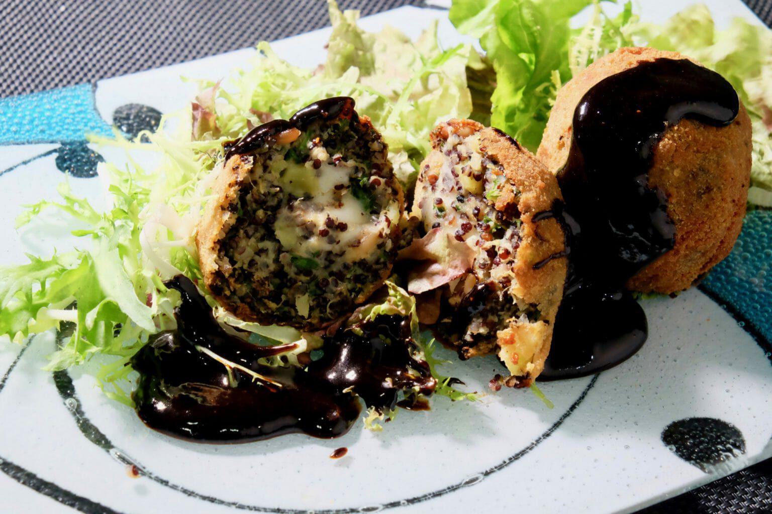 sweet-potato-quinoa-arancini-balls-balsamic-black-garlic-sauce