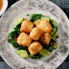 tempura-tofu-on-smashed-cucumber-with-sesame-oil-and-ginger
