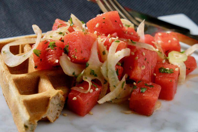 watermelon-fennel-salad-buckwheat-ricotta-waffle