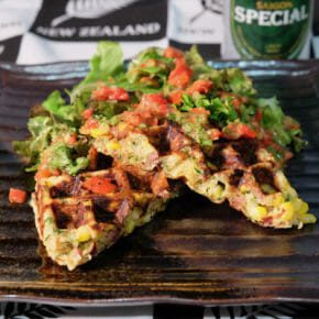 zucchini-corn-waffles-roasted-red-pepper-dressing